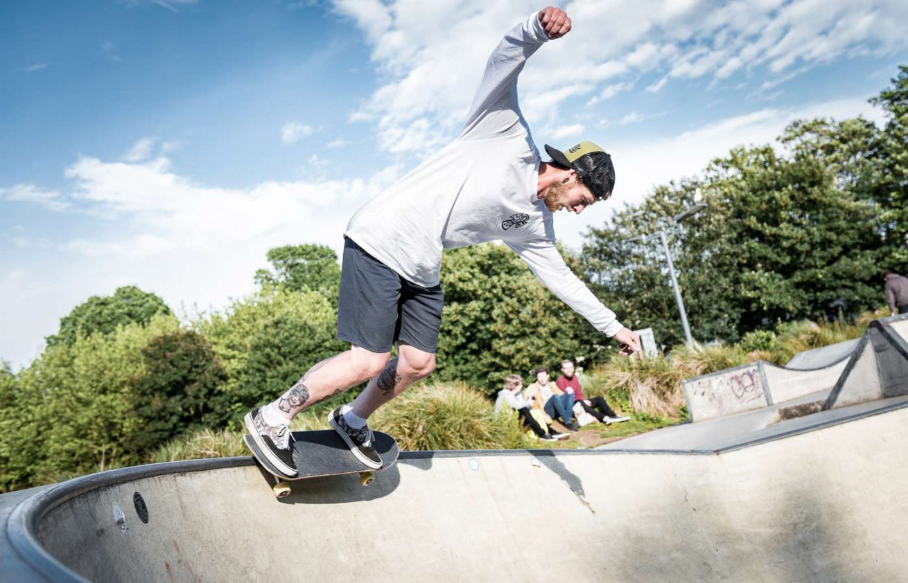 Skateboarder at skate park - The Level - in Brighton
