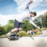 Skateboarder at skate park - The Level - in Brighton